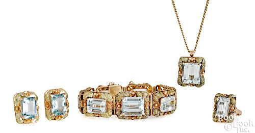 14K and 18K yellow and rose gold aquamarine suite