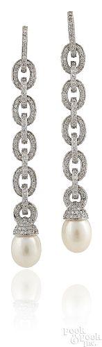 Pair of platinum diamond and pearl drop earrings