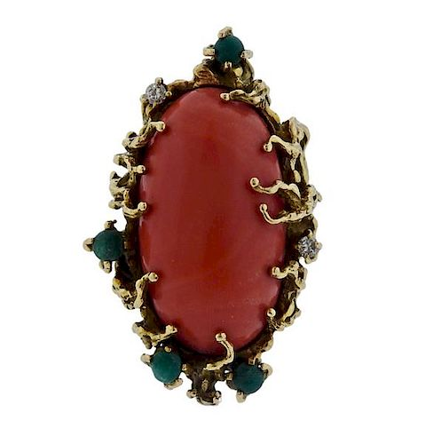 1970s 14k Gold Free Form Coral Diamond Ring