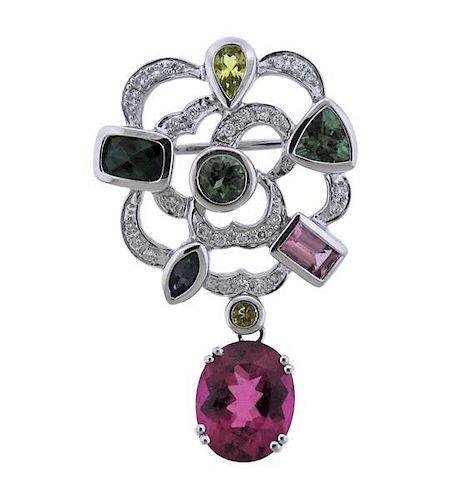 14K Gold Diamond Multi Color Stone Brooch