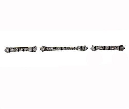 Antique Tiffany & Co Platinum Gold Diamond  Brooch Lot of 3