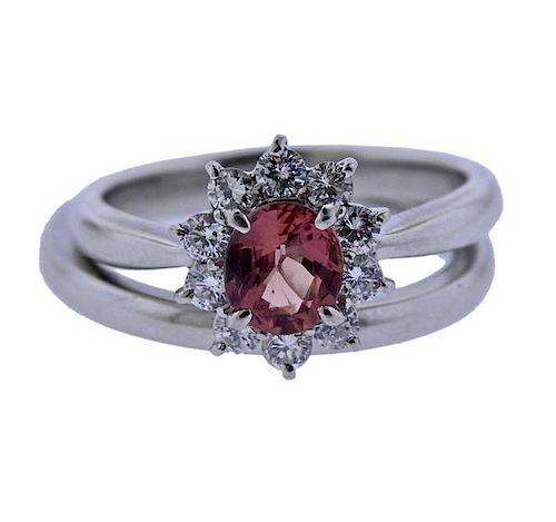 Platinum Diamond Orange Stone Engagement Wedding Ring Set