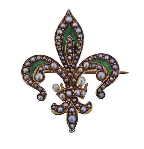 14K Gold Pearl Enamel Fleur De Lis Brooch Pendant