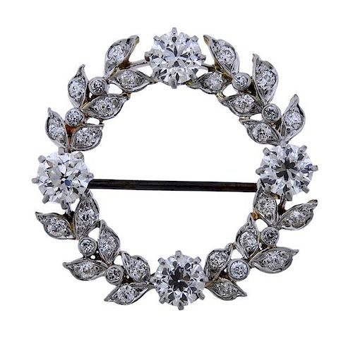 Attributed to Tiffany & Co Gold Platinum Diamond Brooch