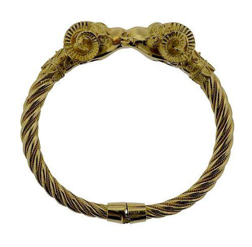 18k Gold Ram's Head Bangle Bracelet