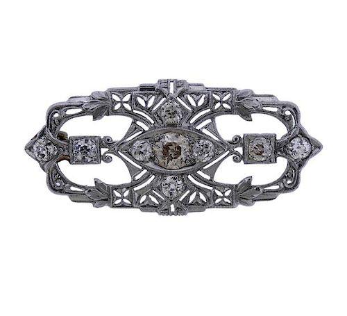Art Deco Filigree Platinum Diamond Brooch