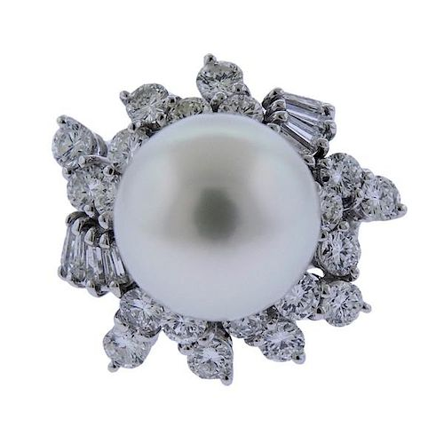 18K Gold Diamond Pearl Cocktail Ring