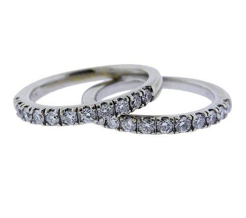 14K Gold Diamond Half Band Wedding Ring Lot of 2
