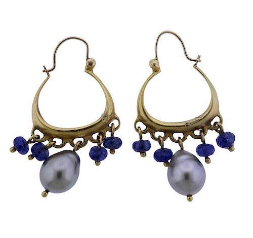 Me & Ro 18K Gold Pearl Blue Stone Hoop Earrings