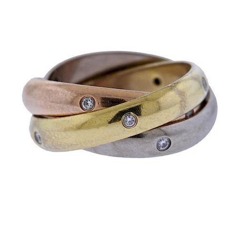 Cartier Trinity 18K Tri Color Gold Diamond Ring