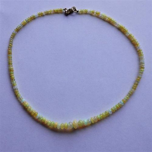 14K Gold Opal Stone Graduated Bead Necklace
