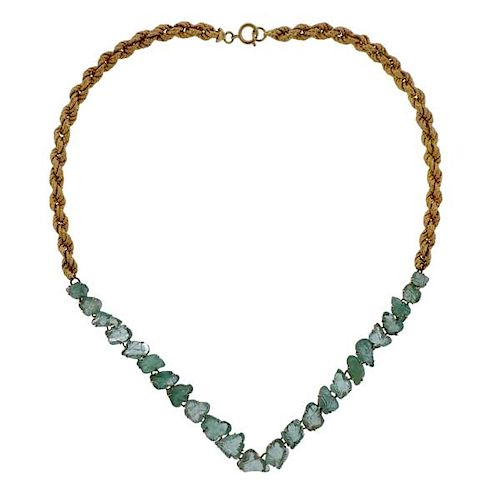 18K Gold Carved Emerald Twisted Chain Necklace