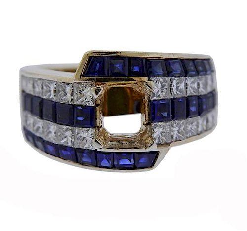 18K Gold Diamond Blue Stone Ring Mounting