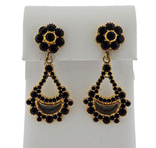 Antique 14K Gold Black Clear Stone Drop Earrings