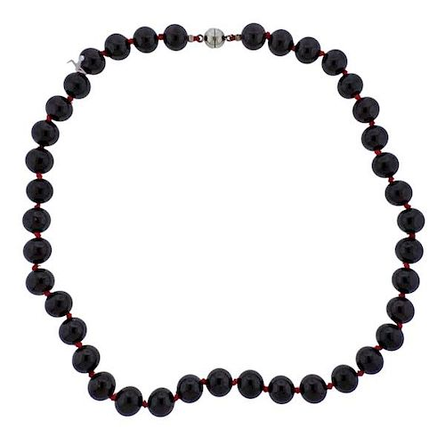 Red Stone Bead Necklace
