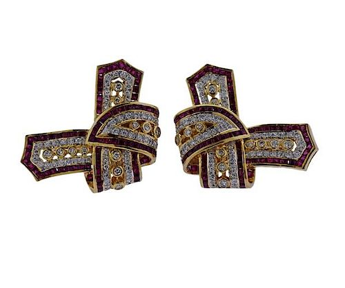 18K Gold Diamond Red Stone Earrings
