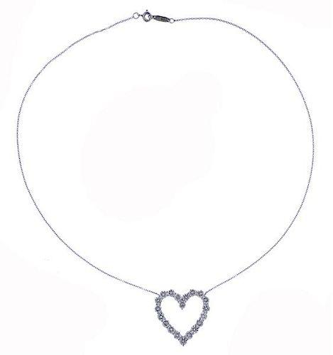 Tiffany & Co Platinum Diamond Open Heart Pendant Necklace