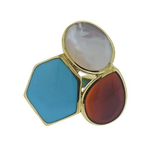 Ippolita Rock Candy Riviera Sky Turquoise Carnelian 18k Gold Ring