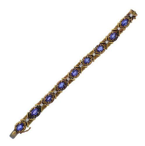 18K Gold Diamond Tanzanite Bracelet