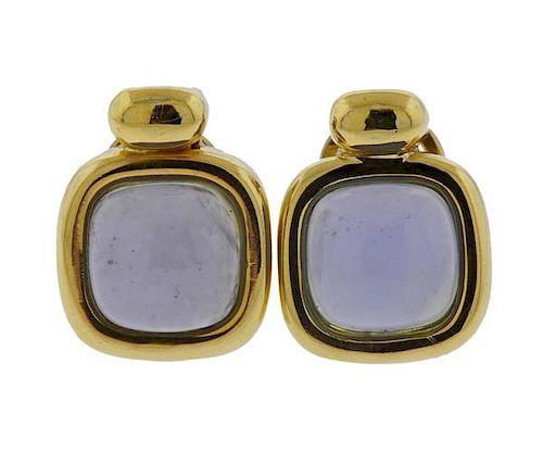 18K Gold Chalcedony Earrings
