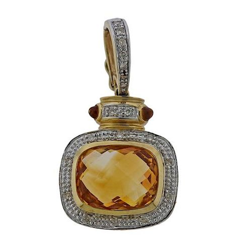 14K Gold Diamond Orange Stone Enhancer Pendant