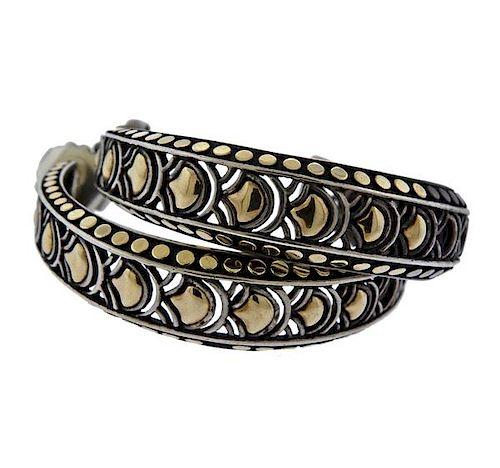 John Hardy Naga 18K Gold Silver Large Hoop Earrings