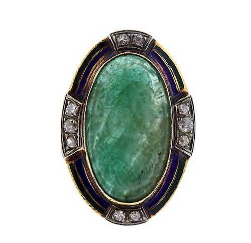 Antique 14K Gold Diamond Green Stone Cameo Enamel Ring