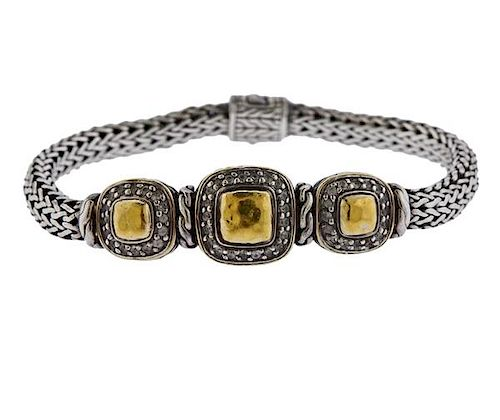 John Hardy 22K Gold Silver Diamond Bracelet