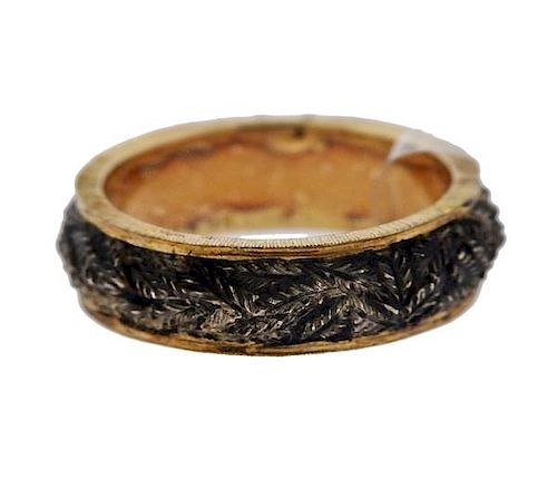 Buccellati Brunito 18k Gold Silver Band Ring