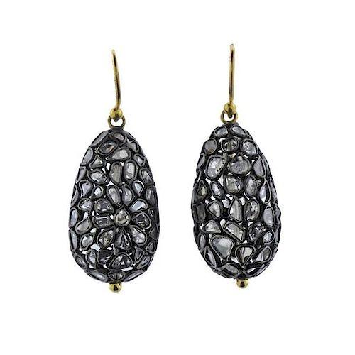Gurhan Pastiche Gold Silver Diamond Teardrop Earrings