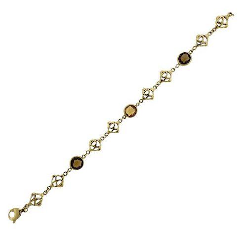 David Yurman 18K Gold Color Stone Logo Bracelet