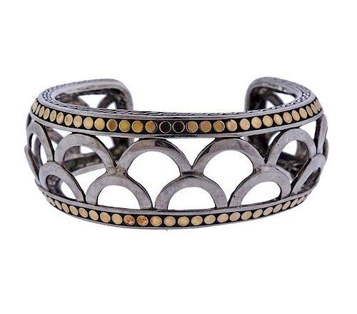 John Hardy Naga 18K Gold Silver Cuff Bracelet