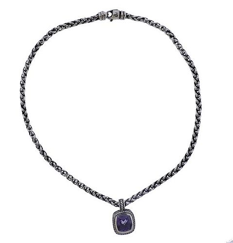 David Yurman Albion Silver Diamond Purple Stone Pendant Necklace