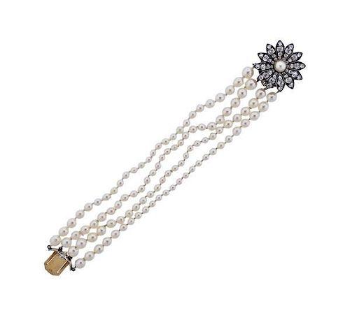 Victorian Silver Gold 4.00ctw Old Mine Diamond Clasp Pearl Bracelet