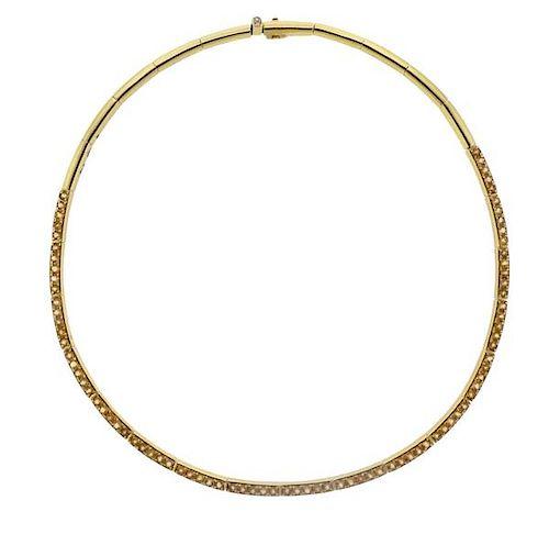 H. Stern 18K Gold Diamond Gemstone Collar Necklace