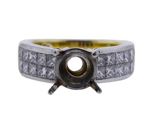 18k Gold Platinum Diamond Engagement Ring Setting