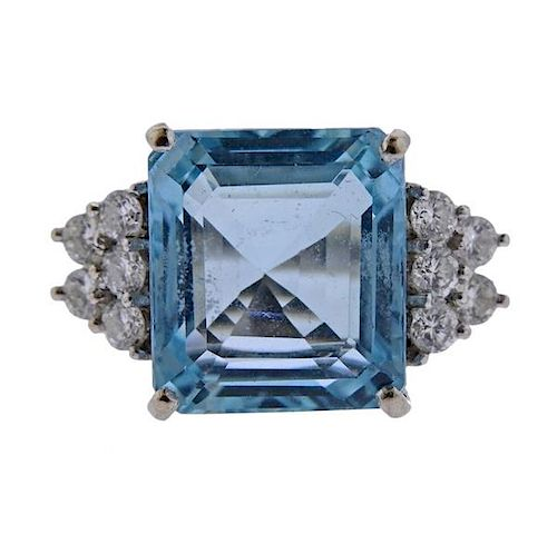 18k Gold 12.5ct Aquamarine Diamond Ring