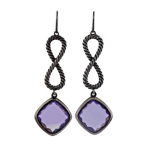 David Yurman Sterling Purple Stone Dangle Earrings
