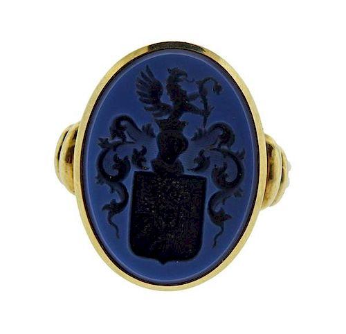 Antique 14K Gold Hardstone Intaglio Ring