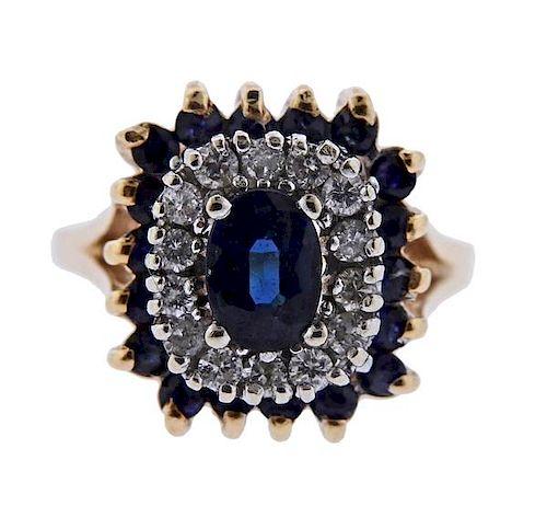 14K Gold Diamond Blue Stone Ring
