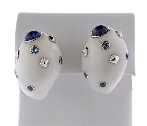 Trianon 18K Gold Blue Stone Shell Earrings