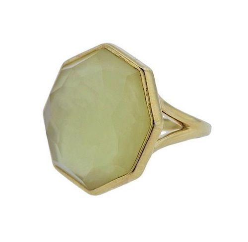 New Ippolita Rock Candy Citrine Mother of Pearl 18k Gold Ring