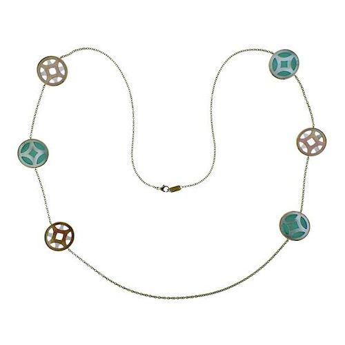 New Ippolita Rock Candy Turquoise Isola 18k Gold Station Necklace