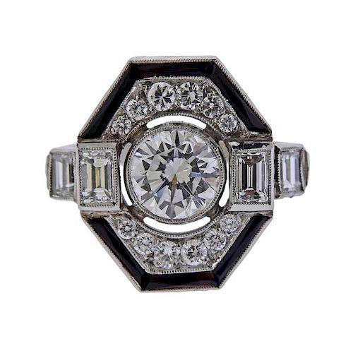 Platinum Diamond Onyx Ring