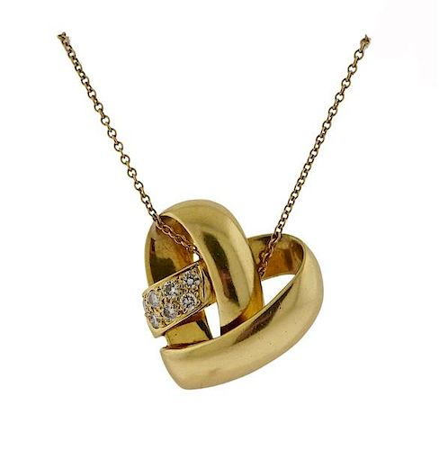 Van Cleef & Arpels VCA Diamond Gold Heart Pendant Necklace
