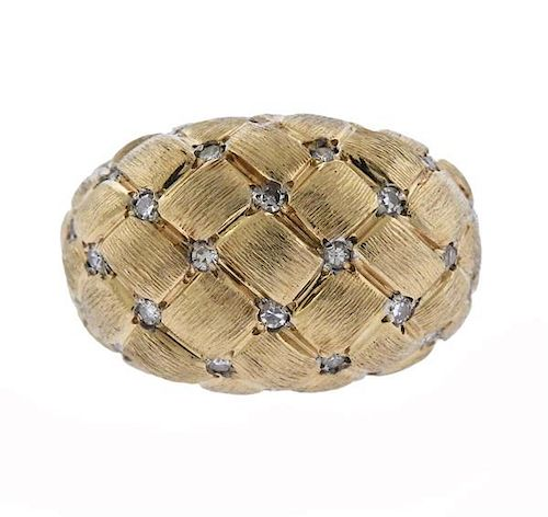 Vintage 14k Gold Diamond Basket Weave Ring