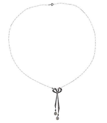 Antique Platinum 18K Gold Diamond Bow Drop Pendant Necklace
