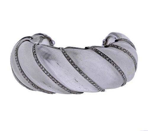 Platinum Diamond Frosted Crystal Cuff Bracelet