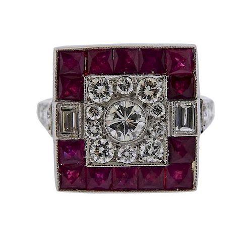 Platinum Diamond Ruby Square Ring