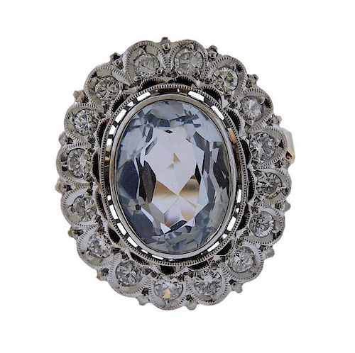 18K Gold Platinum Diamond Blue Stone Ring